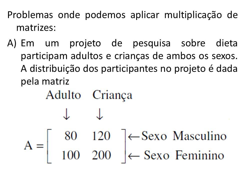Problemas onde podemos aplicar multiplicação de matrizes: A)Em um projeto de pesquisa sobre dieta participam adultos e crianças de ambos os sexos. A d