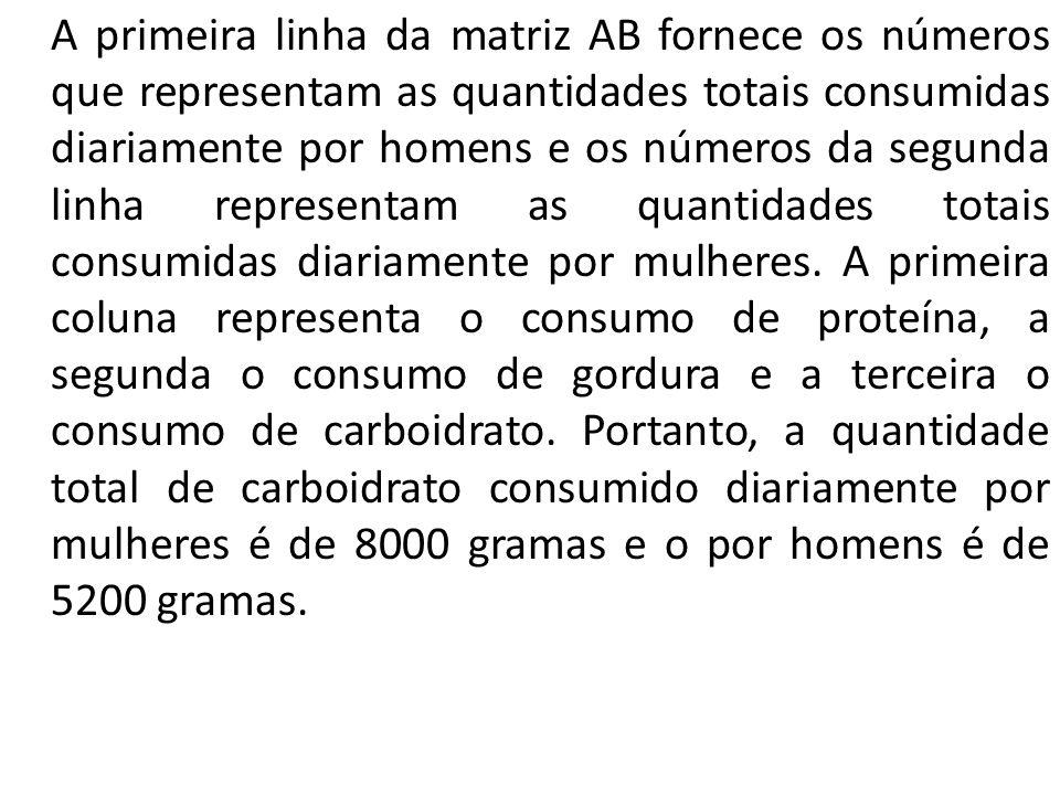 A primeira linha da matriz AB fornece os números que representam as quantidades totais consumidas diariamente por homens e os números da segunda linha