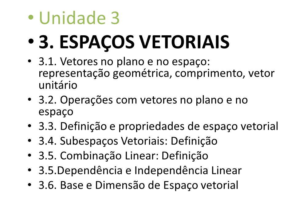 Unidade 3 3. ESPAÇOS VETORIAIS 3.1. Vetores no plano e no espaço: representação geométrica, comprimento, vetor unitário 3.2. Operações com vetores no