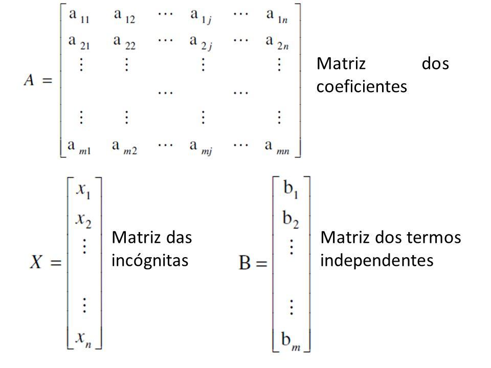 Matriz dos coeficientes Matriz das incógnitas Matriz dos termos independentes