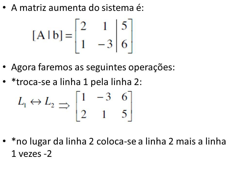 A matriz aumenta do sistema é: Agora faremos as seguintes operações: *troca-se a linha 1 pela linha 2: *no lugar da linha 2 coloca-se a linha 2 mais a