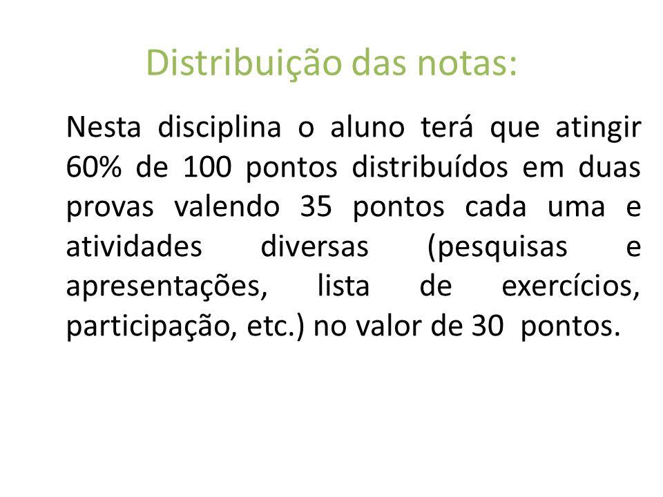 Distribuição das notas: Nesta disciplina o aluno terá que atingir 60% de 100 pontos distribuídos em duas provas valendo 35 pontos cada uma e atividade