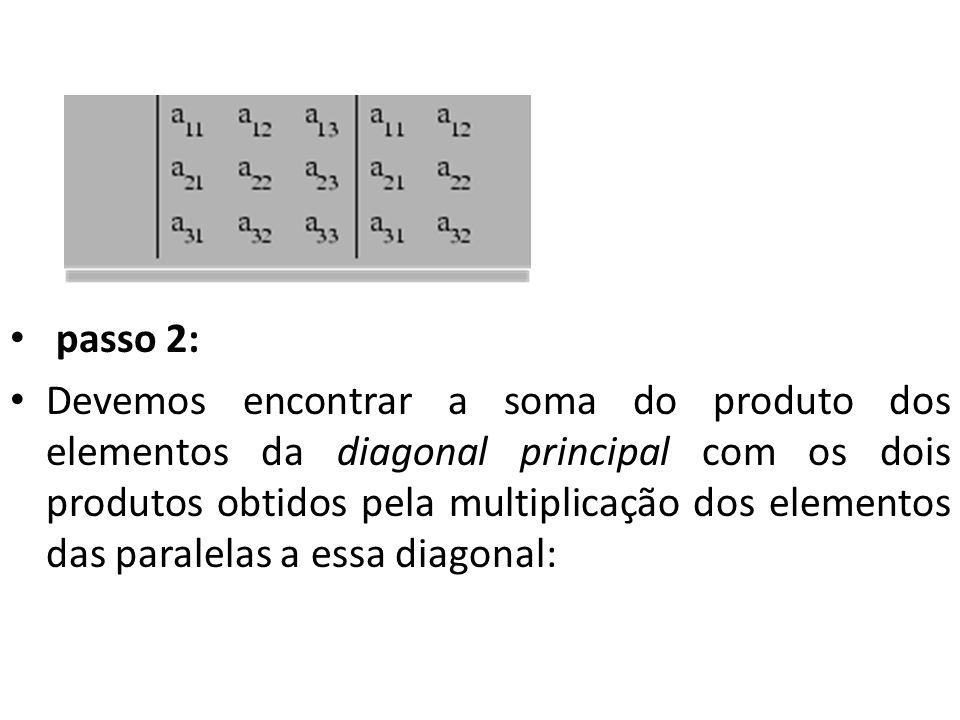 passo 2: Devemos encontrar a soma do produto dos elementos da diagonal principal com os dois produtos obtidos pela multiplicação dos elementos das par