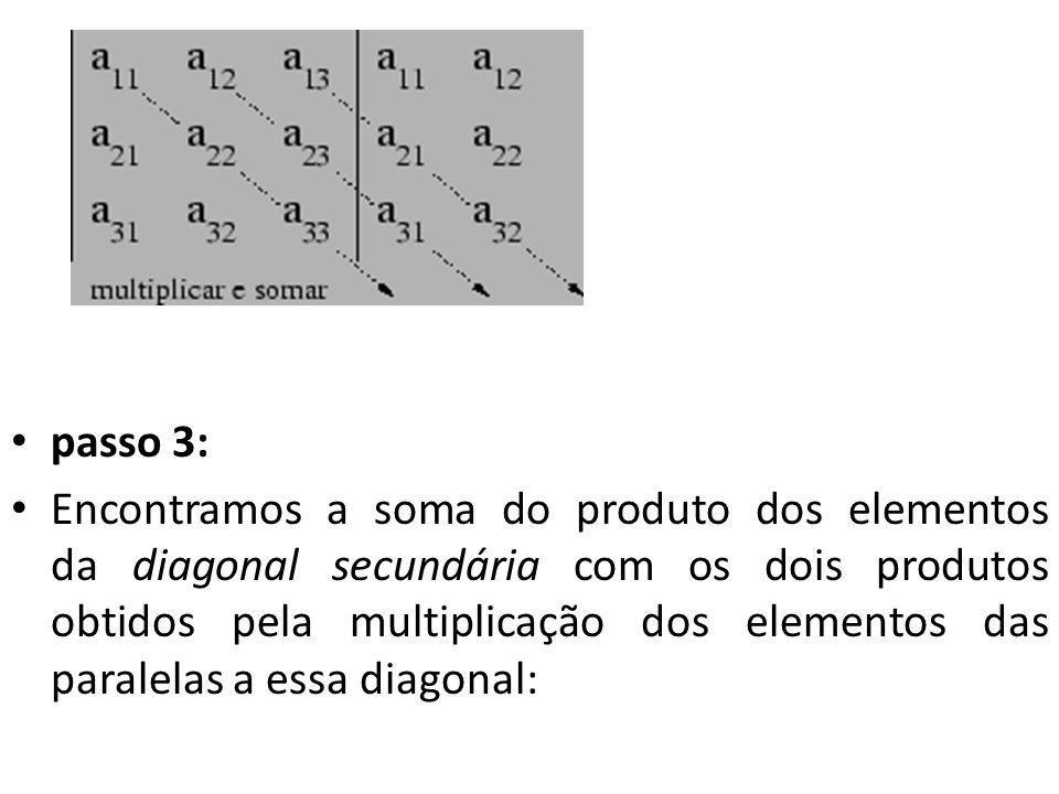 passo 3: Encontramos a soma do produto dos elementos da diagonal secundária com os dois produtos obtidos pela multiplicação dos elementos das paralela
