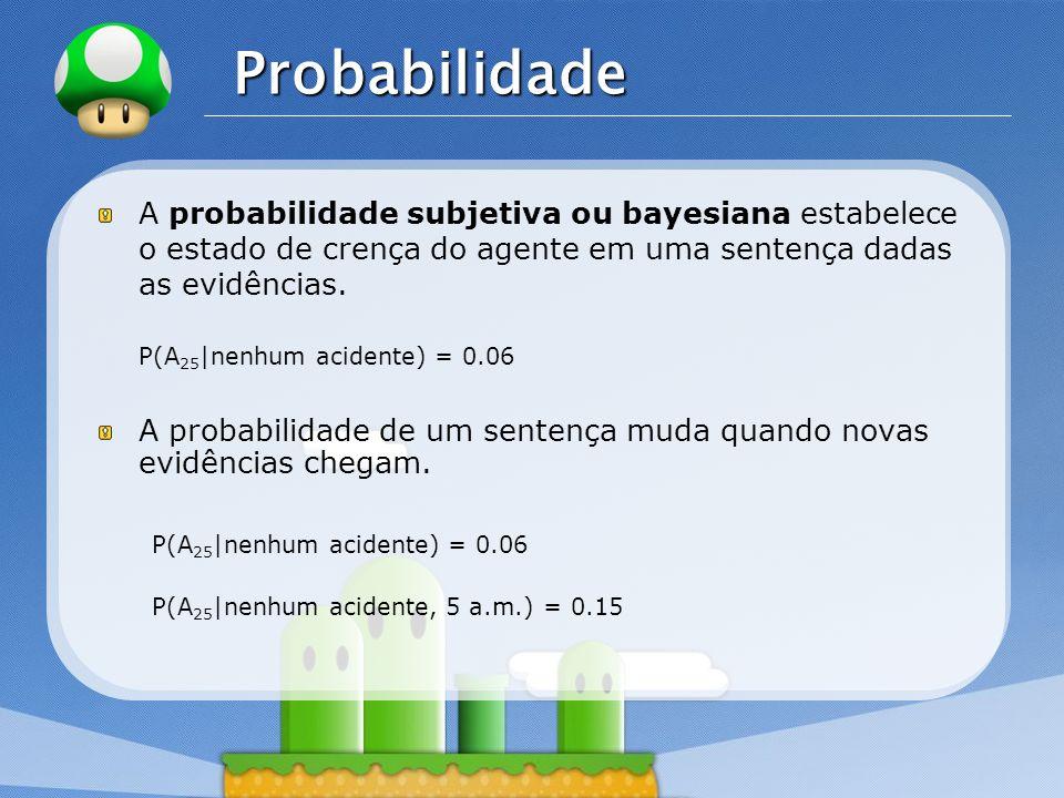 LOGO Probabilidade A probabilidade subjetiva ou bayesiana estabelece o estado de crença do agente em uma sentença dadas as evidências. P(A 25 |nenhum