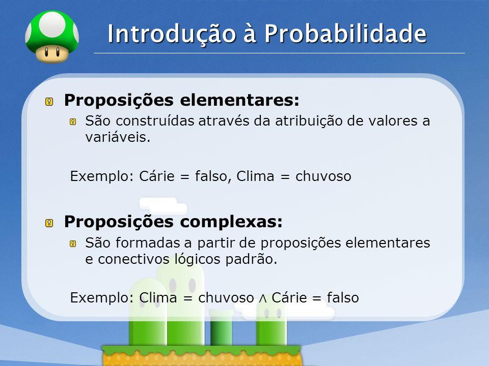 LOGO Introdução à Probabilidade Proposições elementares: São construídas através da atribuição de valores a variáveis. Exemplo: Cárie = falso, Clima =