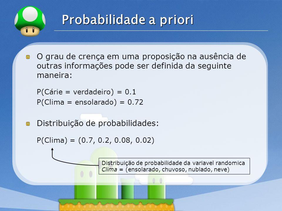 LOGO Probabilidade a priori O grau de crença em uma proposição na ausência de outras informações pode ser definida da seguinte maneira: P(Cárie = verd