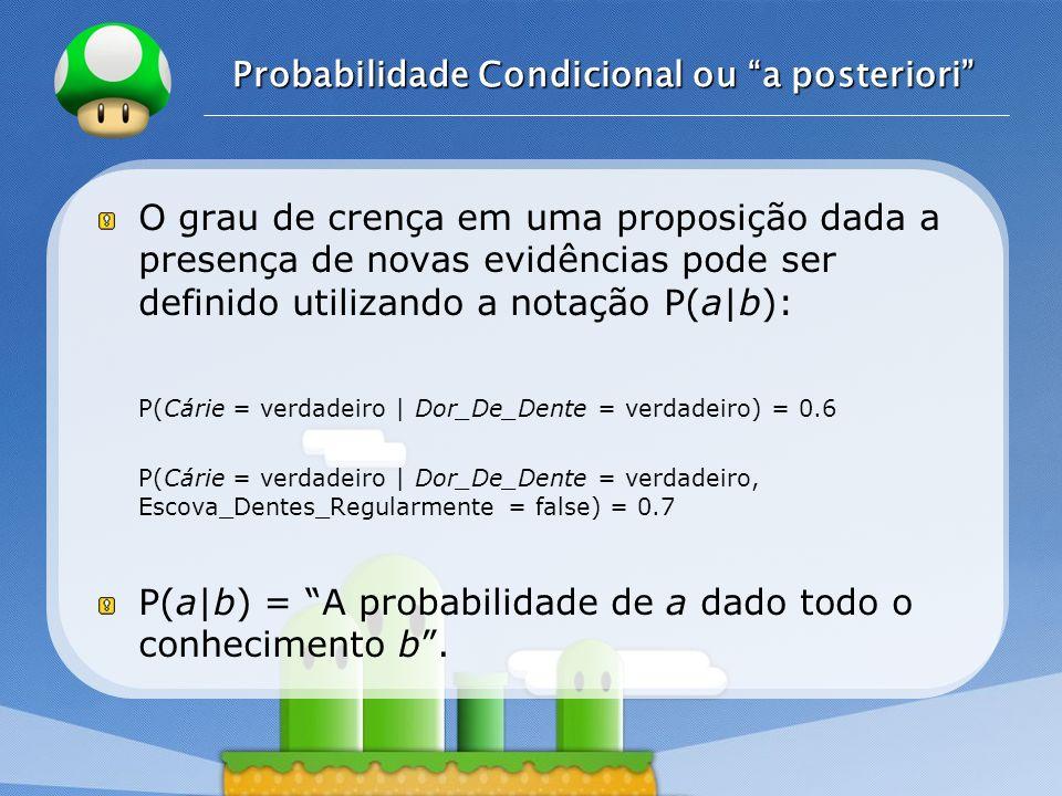 LOGO Probabilidade Condicional ou a posteriori O grau de crença em uma proposição dada a presença de novas evidências pode ser definido utilizando a n