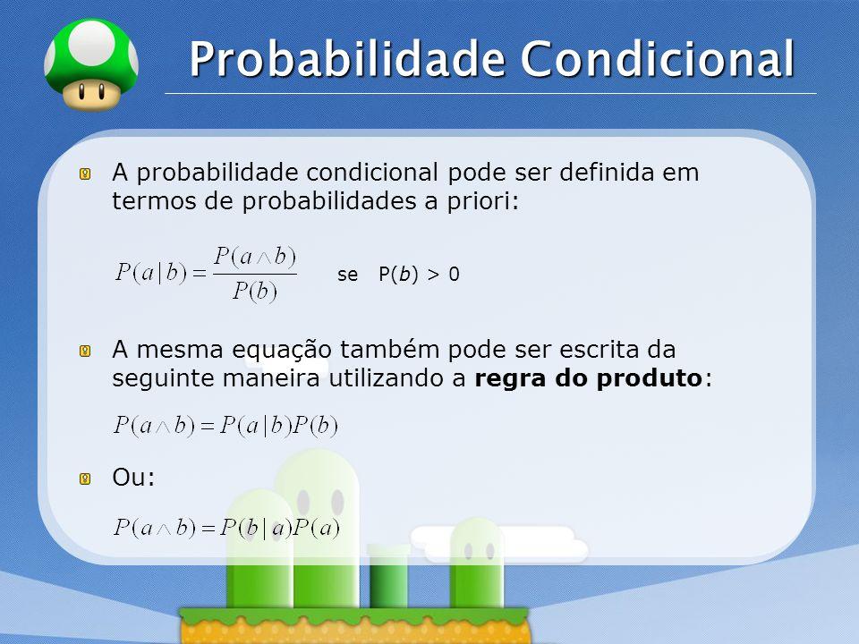 LOGO Probabilidade Condicional A probabilidade condicional pode ser definida em termos de probabilidades a priori: se P(b) > 0 A mesma equação também