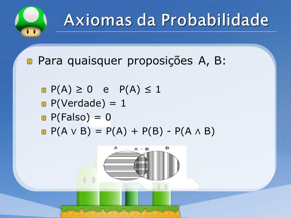 LOGO Axiomas da Probabilidade Para quaisquer proposições A, B: P(A) 0 e P(A) 1 P(Verdade) = 1 P(Falso) = 0 P(A B) = P(A) + P(B) - P(A B)