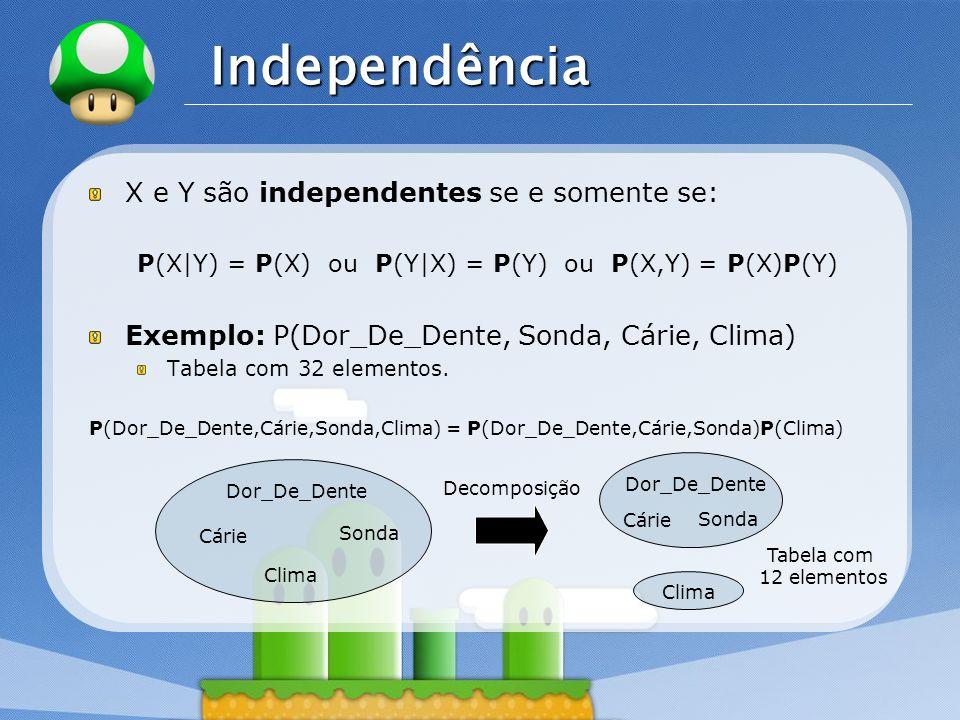 LOGO Independência X e Y são independentes se e somente se: P(X|Y) = P(X) ou P(Y|X) = P(Y) ou P(X,Y) = P(X)P(Y) Exemplo: P(Dor_De_Dente, Sonda, Cárie,
