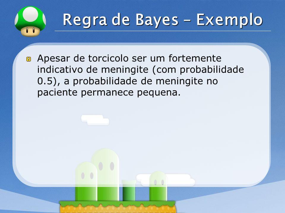 LOGO Regra de Bayes – Exemplo Apesar de torcicolo ser um fortemente indicativo de meningite (com probabilidade 0.5), a probabilidade de meningite no p