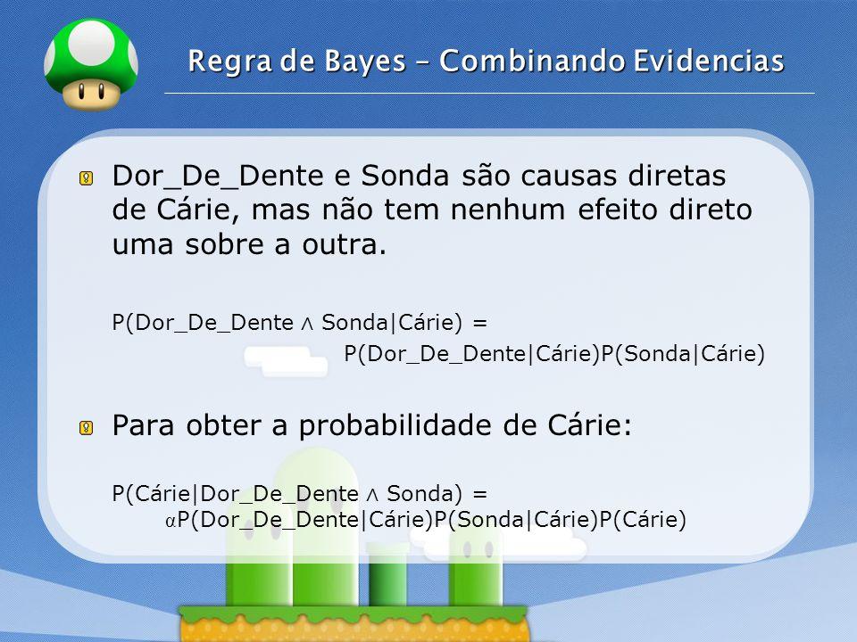 LOGO Regra de Bayes – Combinando Evidencias Dor_De_Dente e Sonda são causas diretas de Cárie, mas não tem nenhum efeito direto uma sobre a outra. P(Do