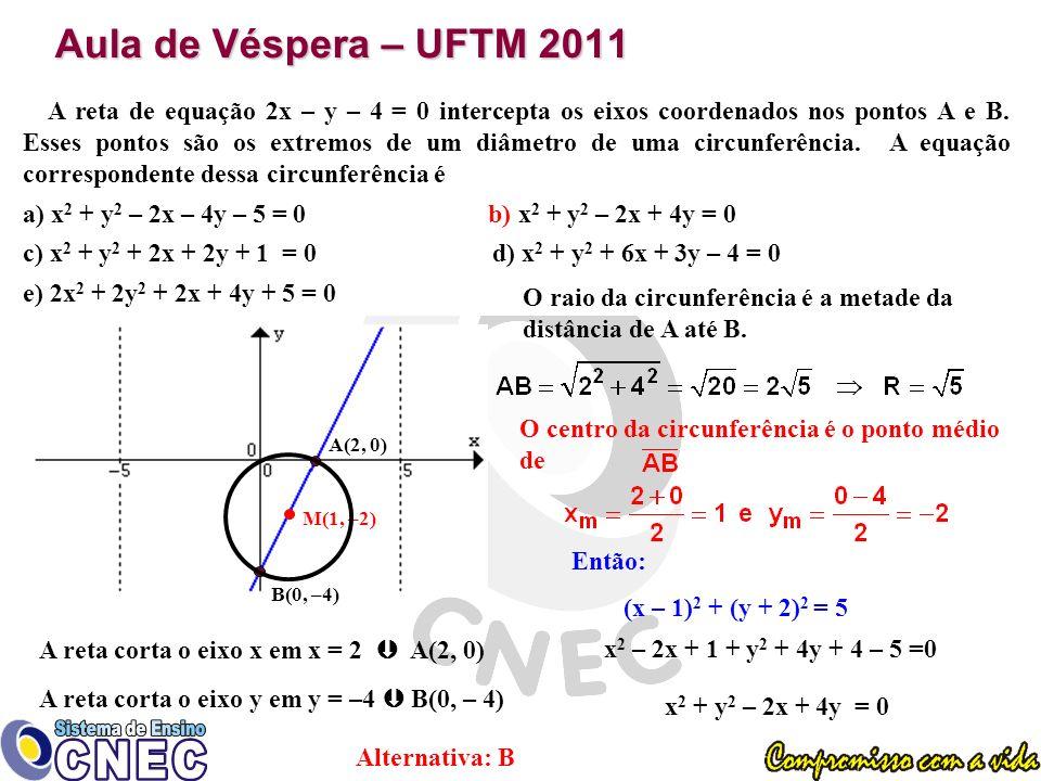 Aula de Véspera – UFTM 2011 A reta de equação 2x – y – 4 = 0 intercepta os eixos coordenados nos pontos A e B.