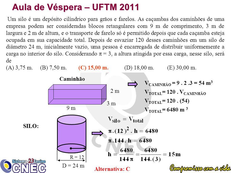 Aula de Véspera – UFTM 2011 Um silo é um depósito cilíndrico para grãos e farelos.