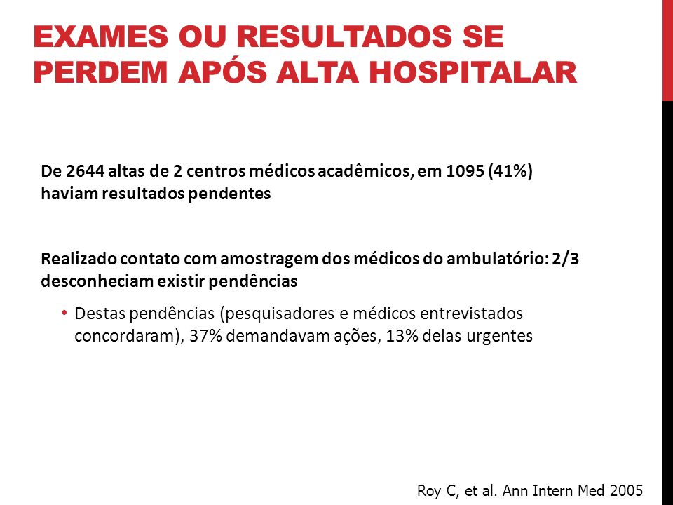 De 2644 altas de 2 centros médicos acadêmicos, em 1095 (41%) haviam resultados pendentes Realizado contato com amostragem dos médicos do ambulatório:
