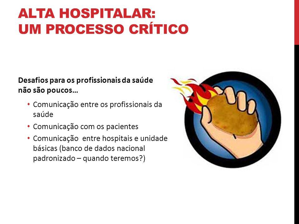 ALTA HOSPITALAR: UM PROCESSO CRÍTICO Desafios para os pacientes Compreender as instruções Instruções por escrito nem sempre fáceis de seguir Instruções verbais geralmente complexas e despejadas Aderência