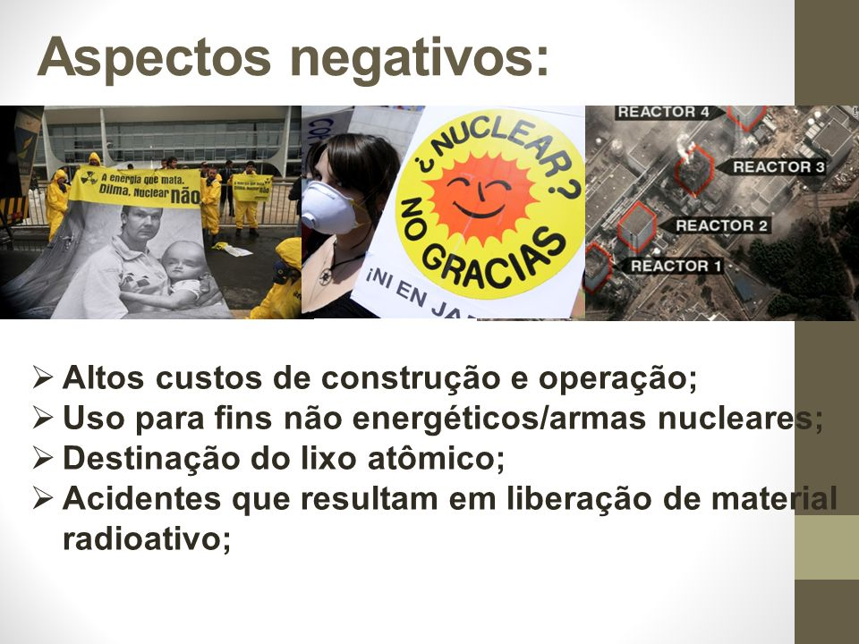 Altos custos de construção e operação; Uso para fins não energéticos/armas nucleares; Destinação do lixo atômico; Acidentes que resultam em liberação de material radioativo; Aspectos negativos: