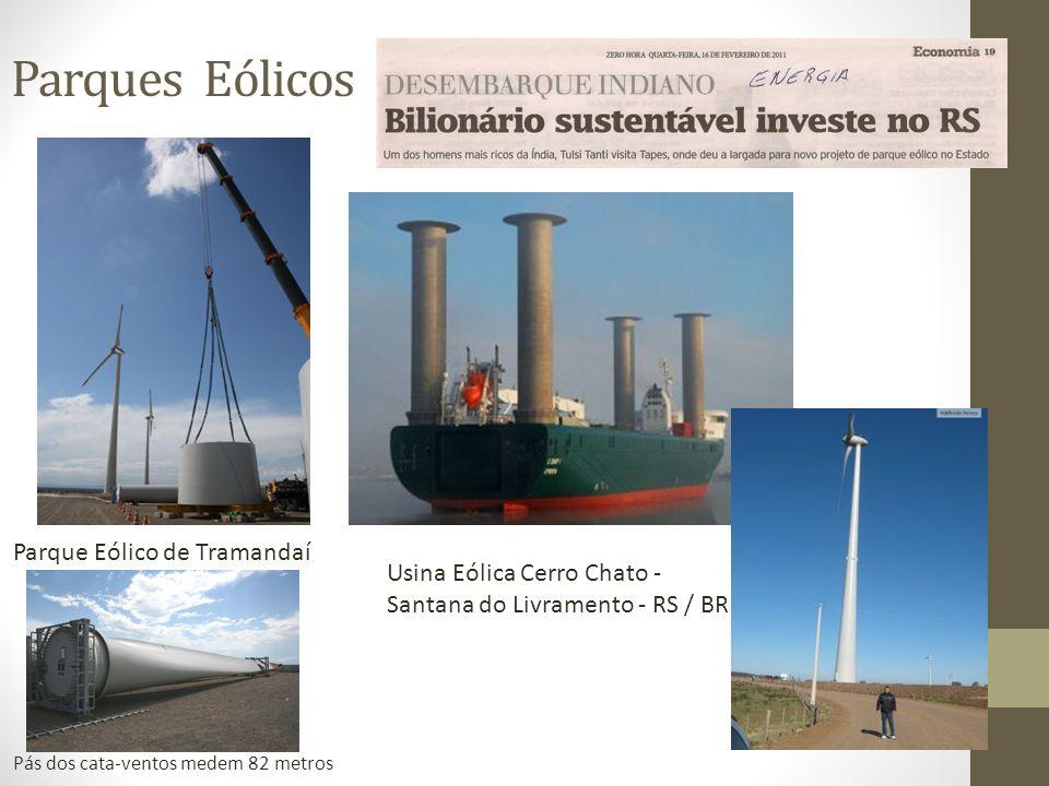 Parques Eólicos Parque Eólico de Tramandaí Pás dos cata-ventos medem 82 metros Usina Eólica Cerro Chato - Santana do Livramento - RS / BR