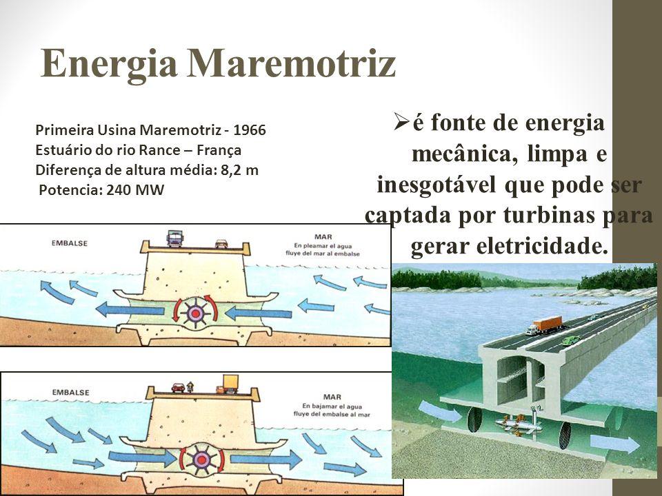 Primeira Usina Maremotriz - 1966 Estuário do rio Rance – França Diferença de altura média: 8,2 m Potencia: 240 MW é fonte de energia mecânica, limpa e inesgotável que pode ser captada por turbinas para gerar eletricidade.
