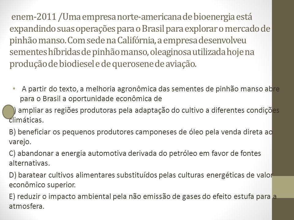 enem-2011 /Uma empresa norte-americana de bioenergia está expandindo suas operações para o Brasil para explorar o mercado de pinhão manso. Com sede na