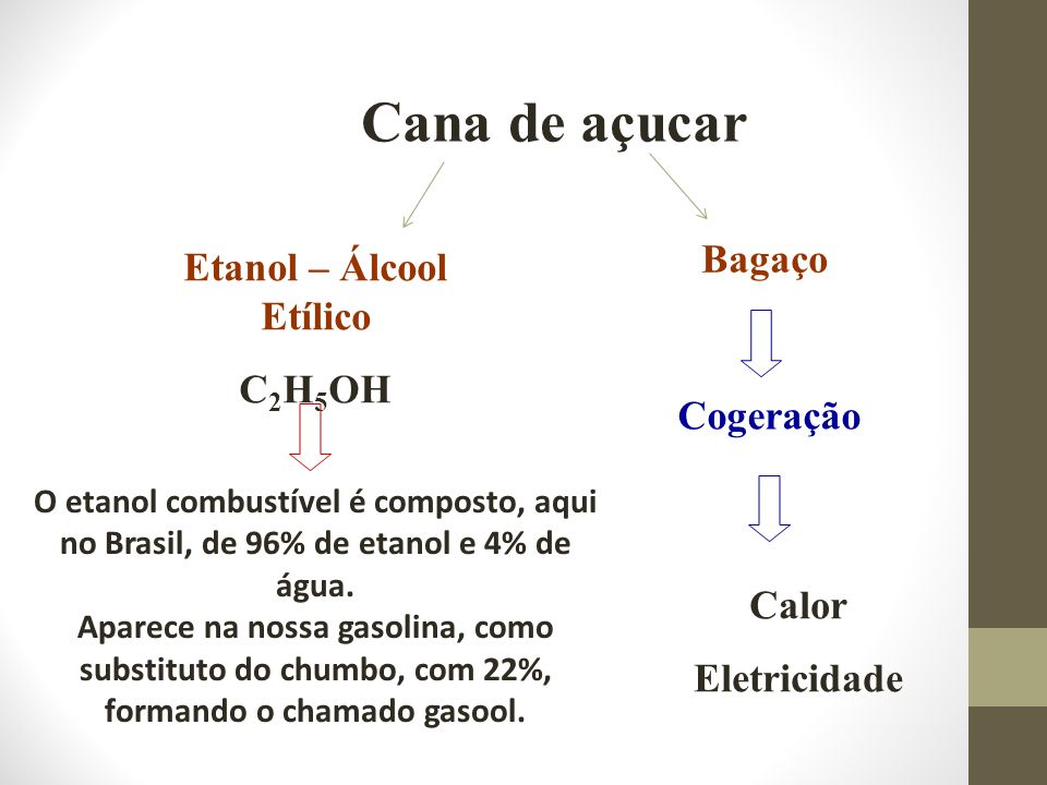 Cana de açucar O etanol combustível é composto, aqui no Brasil, de 96% de etanol e 4% de água. Aparece na nossa gasolina, como substituto do chumbo, c