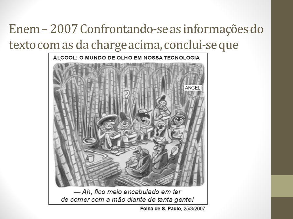 Enem – 2007 Confrontando-se as informações do texto com as da charge acima, conclui-se que