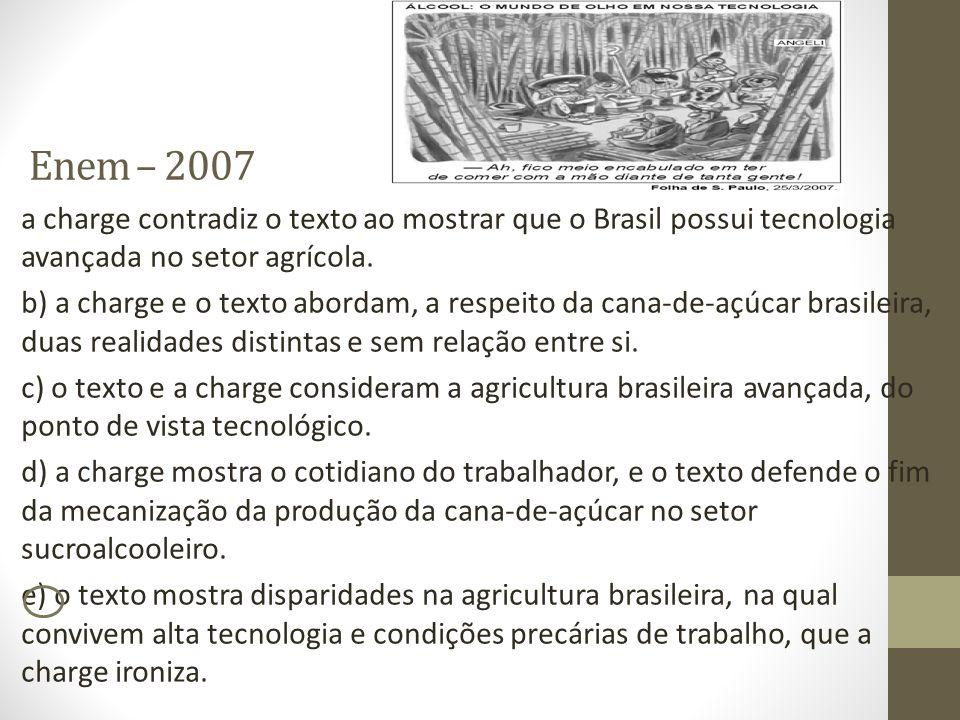 Enem – 2007 a charge contradiz o texto ao mostrar que o Brasil possui tecnologia avançada no setor agrícola. b) a charge e o texto abordam, a respeito