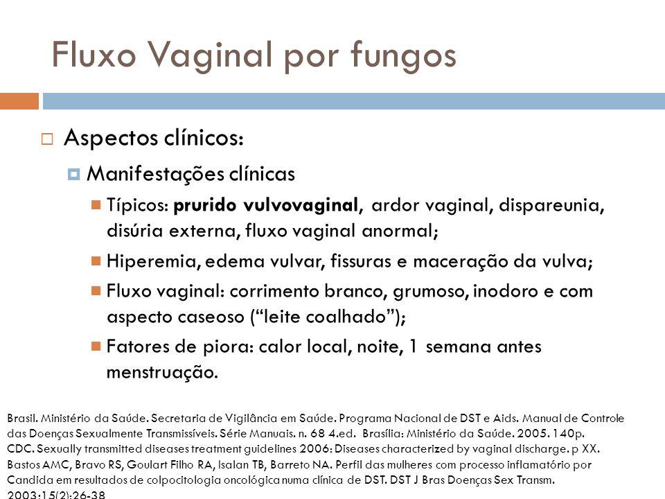 Fluxo Vaginal por fungos Aspectos clínicos: Manifestações clínicas Típicos: prurido vulvovaginal, ardor vaginal, dispareunia, disúria externa, fluxo v