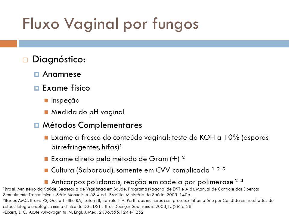 Fluxo Vaginal por fungos Diagnóstico: Anamnese Exame físico Inspeção Medida do pH vaginal Métodos Complementares Exame a fresco do conteúdo vaginal: t