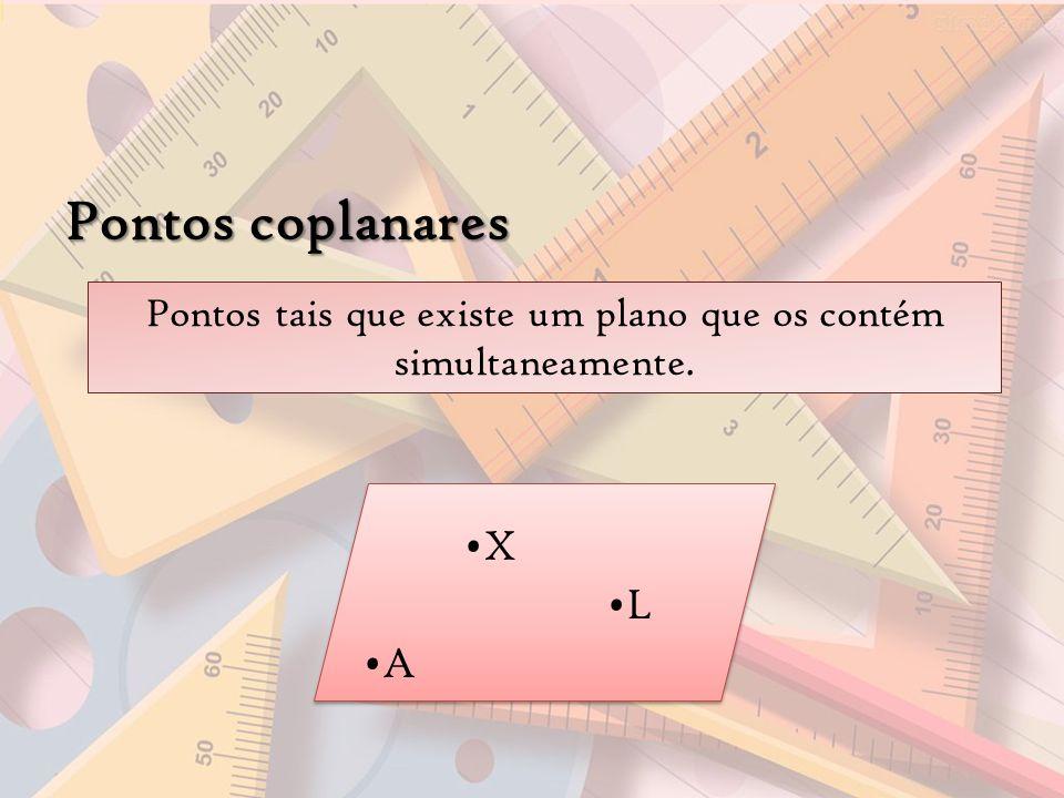 Pontos coplanares X L A Pontos tais que existe um plano que os contém simultaneamente.