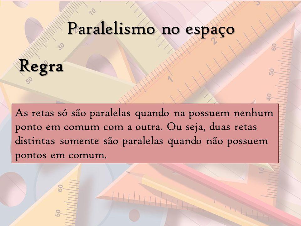 Paralelismo no espaço Regra As retas só são paralelas quando na possuem nenhum ponto em comum com a outra. Ou seja, duas retas distintas somente são p