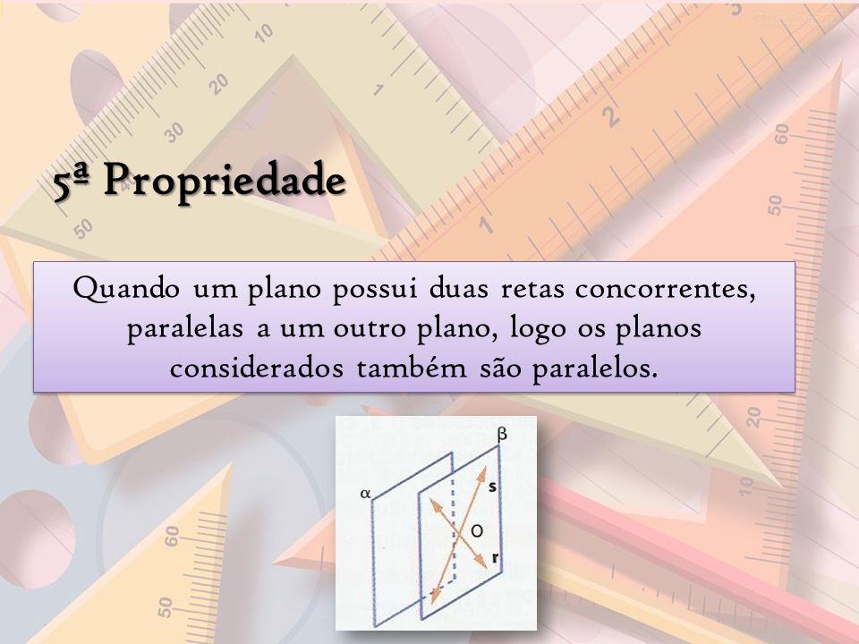 5ª Propriedade Quando um plano possui duas retas concorrentes, paralelas a um outro plano, logo os planos considerados também são paralelos.