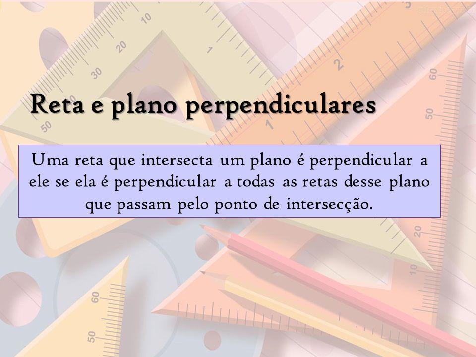 Reta e plano perpendiculares Uma reta que intersecta um plano é perpendicular a ele se ela é perpendicular a todas as retas desse plano que passam pel