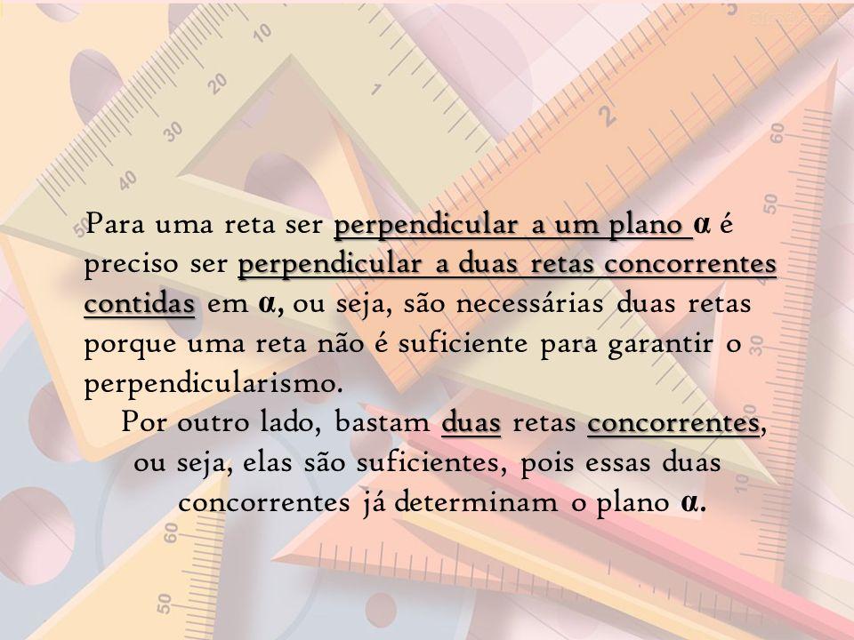 perpendicular a um plano perpendicular a duas retas concorrentes contidas Para uma reta ser perpendicular a um plano α é preciso ser perpendicular a d
