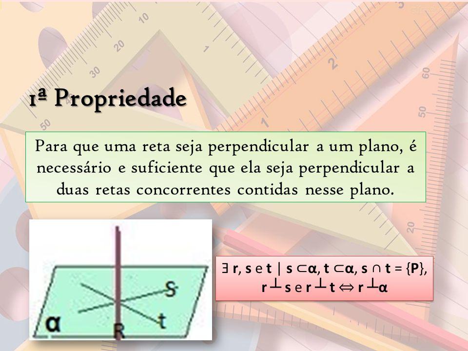 1ª Propriedade Para que uma reta seja perpendicular a um plano, é necessário e suficiente que ela seja perpendicular a duas retas concorrentes contida
