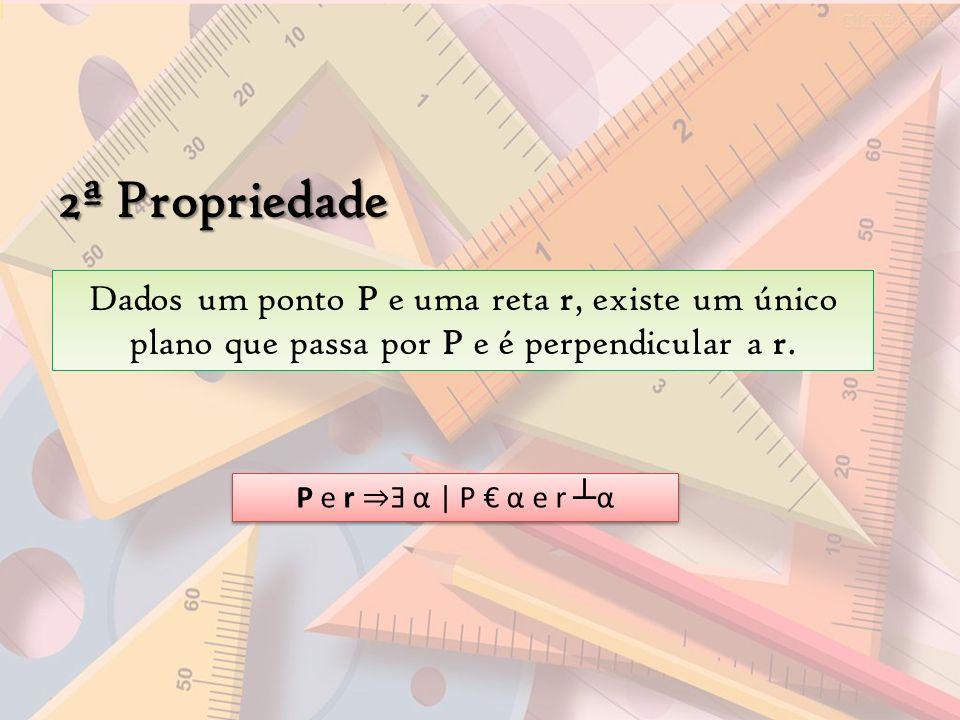 2ª Propriedade Dados um ponto P e uma reta r, existe um único plano que passa por P e é perpendicular a r. P e r Ǝ α | P α e r α