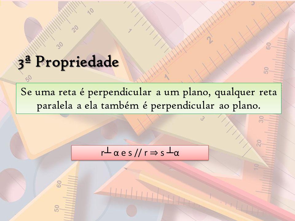 3ª Propriedade Se uma reta é perpendicular a um plano, qualquer reta paralela a ela também é perpendicular ao plano. r α e s // r s α
