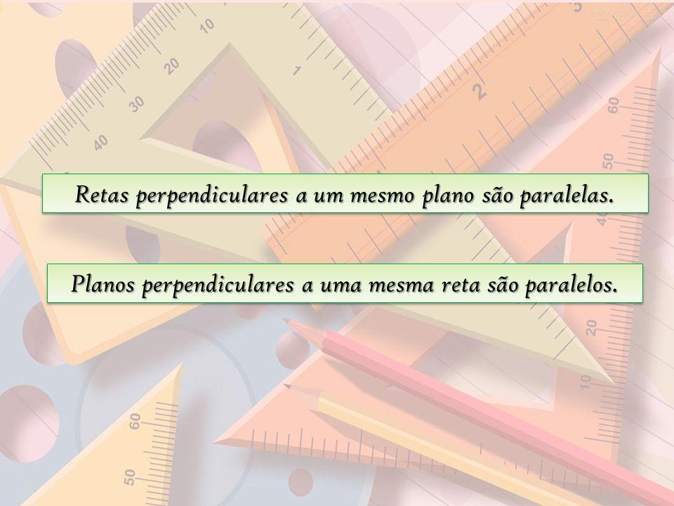 Retas perpendiculares a um mesmo plano são paralelas. Planos perpendiculares a uma mesma reta são paralelos.