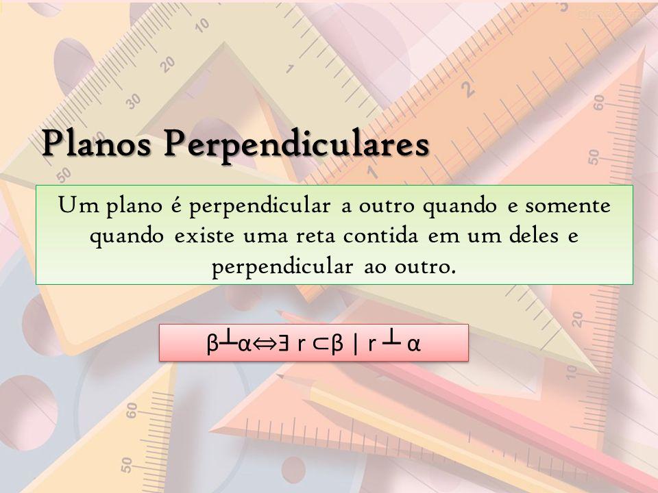 Planos Perpendiculares Um plano é perpendicular a outro quando e somente quando existe uma reta contida em um deles e perpendicular ao outro. β α Ǝ r