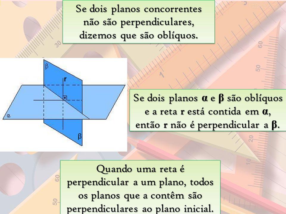 Se dois planos concorrentes não são perpendiculares, dizemos que são oblíquos. Quando uma reta é perpendicular a um plano, todos os planos que a contê