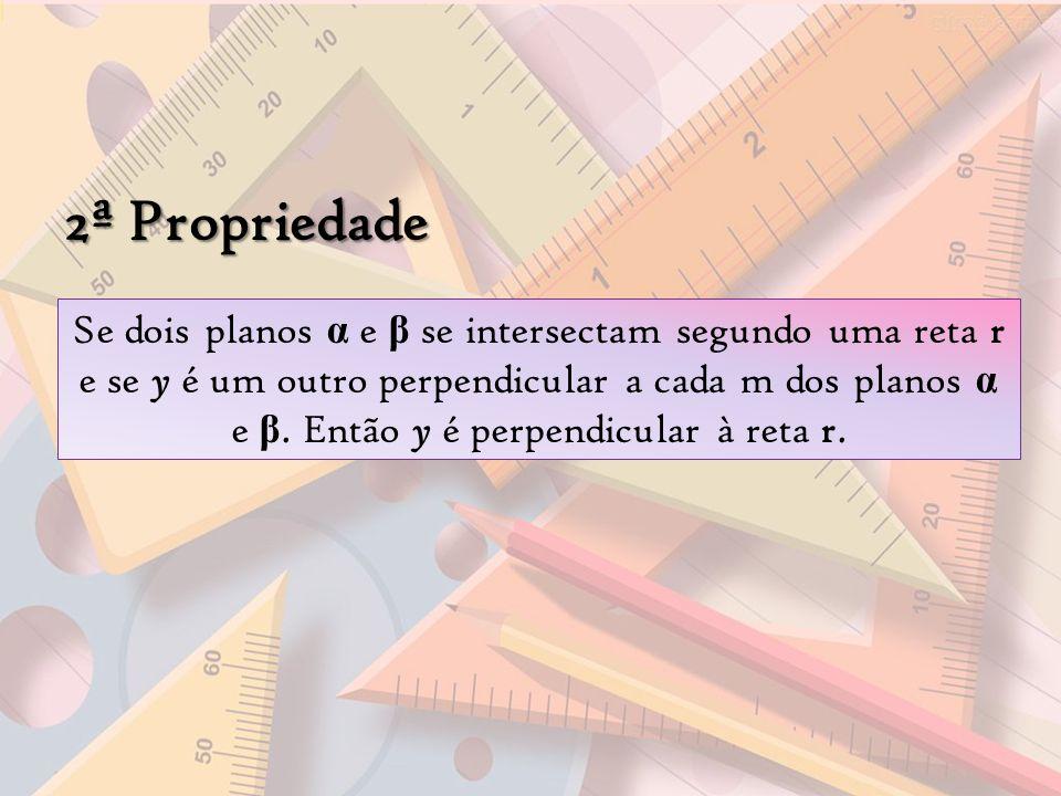 2ª Propriedade Se dois planos α e β se intersectam segundo uma reta r e se y é um outro perpendicular a cada m dos planos α e β. Então y é perpendicul