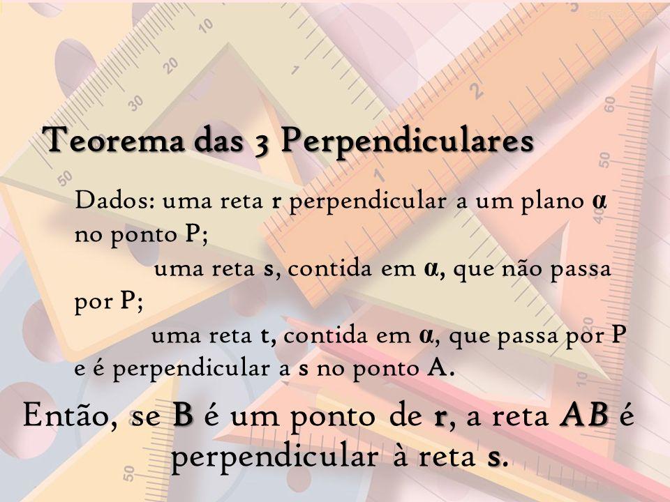 Teorema das 3 Perpendiculares Dados: uma reta r perpendicular a um plano α no ponto P; uma reta s, contida em α, que não passa por P; uma reta t, cont