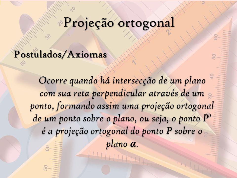 Projeção ortogonal Postulados/Axiomas Ocorre quando há intersecção de um plano com sua reta perpendicular através de um ponto, formando assim uma proj