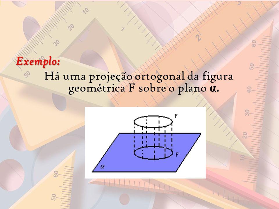 Exemplo: Há uma projeção ortogonal da figura geométrica F sobre o plano α.