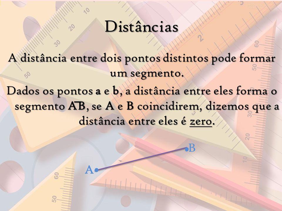 A distância entre dois pontos distintos pode formar um segmento. Dados os pontos a e b, a distância entre eles forma o segmento AB, se A e B coincidir