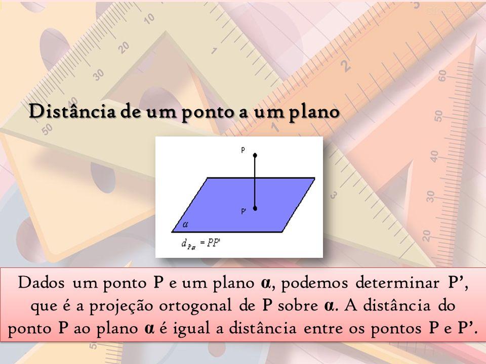Distância de um ponto a um plano Dados um ponto P e um plano α, podemos determinar P, que é a projeção ortogonal de P sobre α. A distância do ponto P