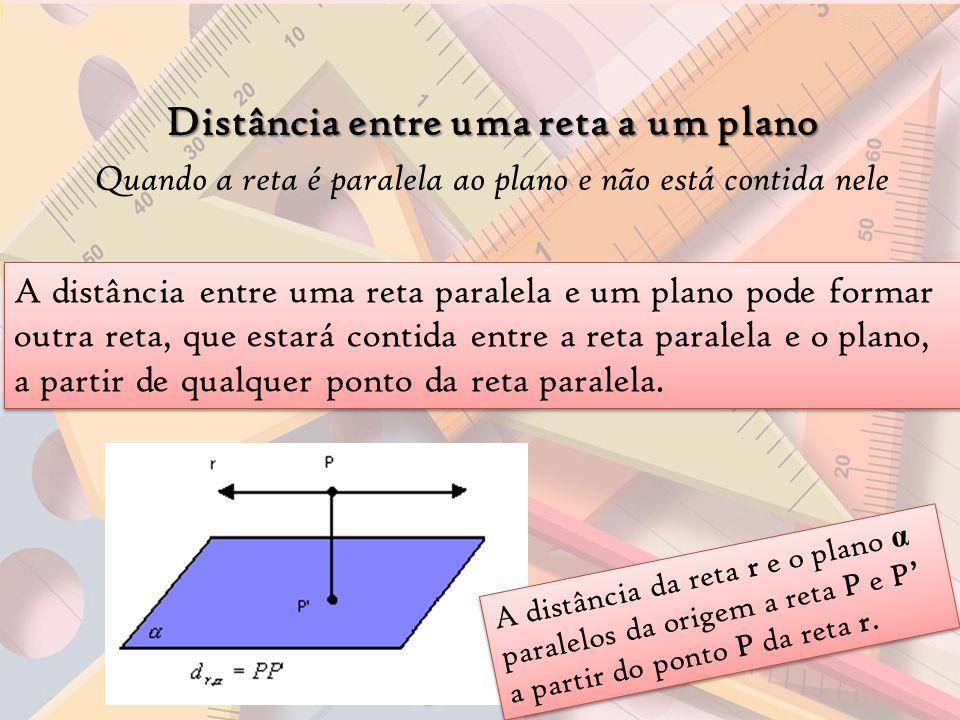 Distância entre uma reta a um plano Quando a reta é paralela ao plano e não está contida nele A distância entre uma reta paralela e um plano pode form