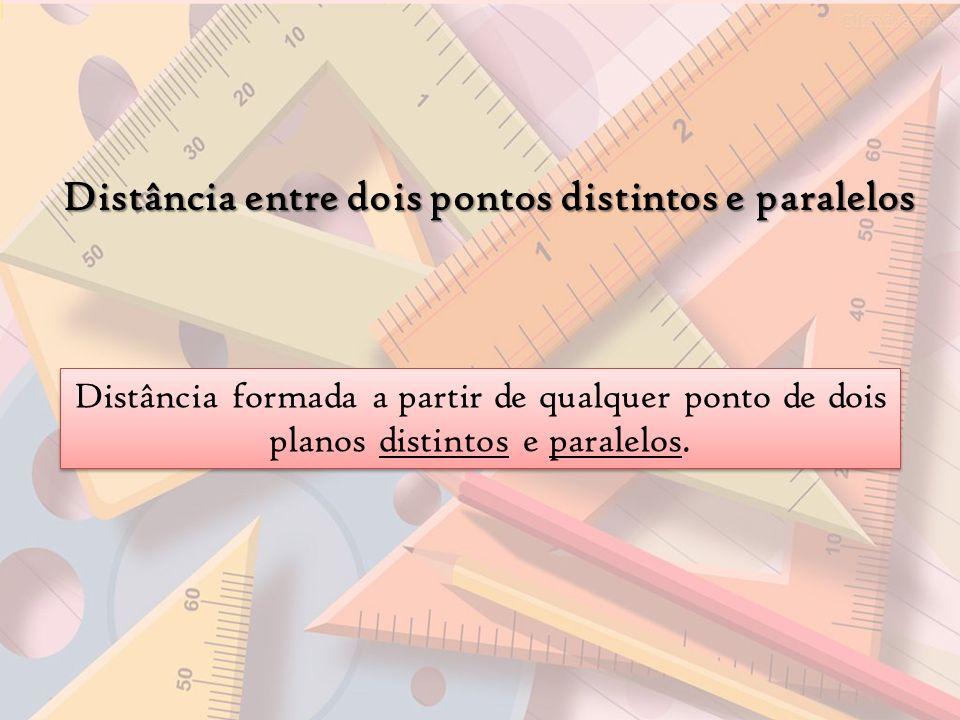 Distância entre dois pontos distintos e paralelos Distância formada a partir de qualquer ponto de dois planos distintos e paralelos.