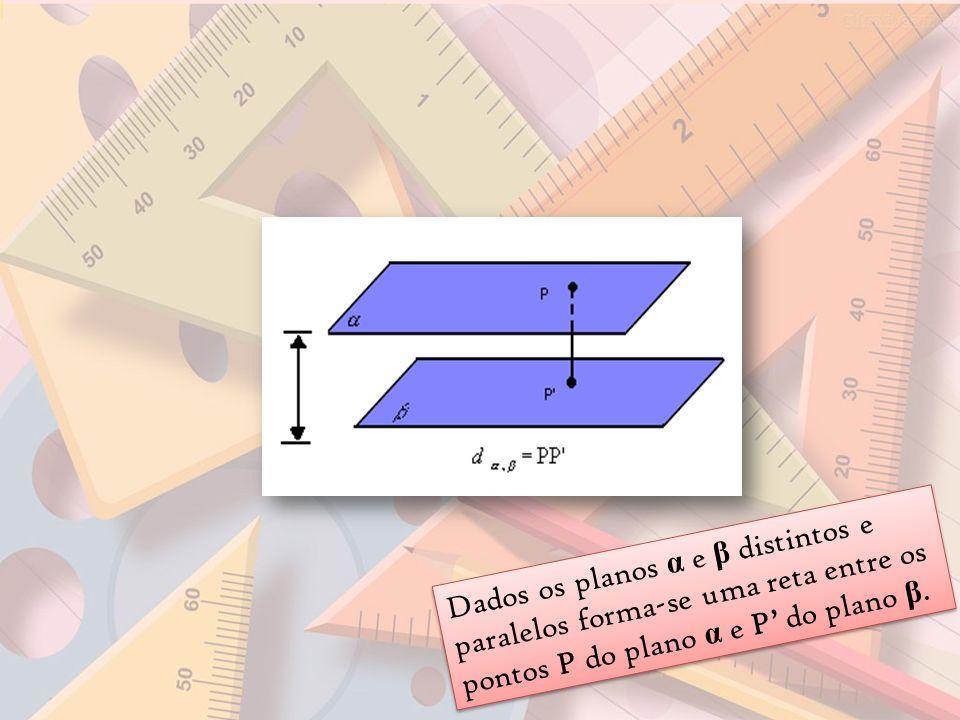 Dados os planos α e β distintos e paralelos forma-se uma reta entre os pontos P do plano α e P do plano β.
